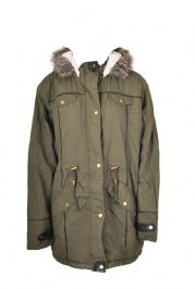 Parka With Leather Detail And Faux Fur Trim